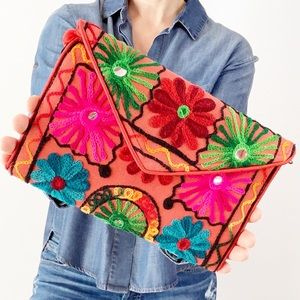 Vintage Boho Flower Bag with Embroidery & Mirrors